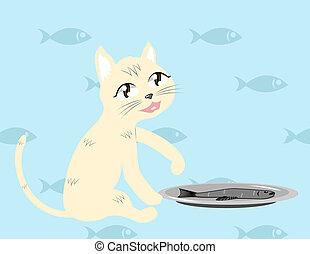 pez, vector, gato