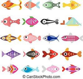 pez, vector, icono, conjunto