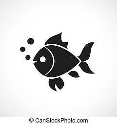 pez, vector, icono
