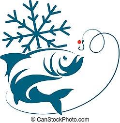 pez, vector, invierno, pesca