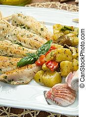 pez, vegetales, filete