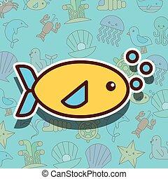 pez, vida, mar, caricatura