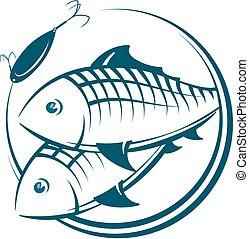 pez, y, cebo, silueta