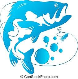 pez, y, gancho, vector