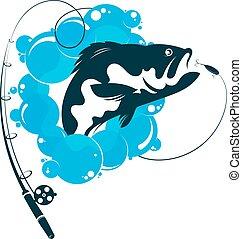 pez, y, pesca rod, vector