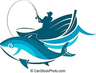 pez, y, pescador, en, un, barco