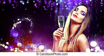 pezsgő, felett, izzó, ivás, háttér, szexi, leány, ünnep, formál