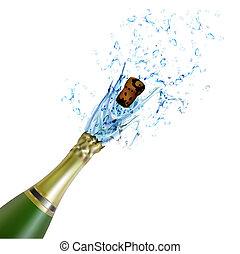 pezsgő, felrobbanás, palack, bedugaszol