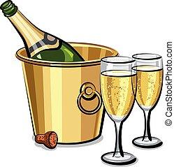 pezsgő palack, alatt, vödör