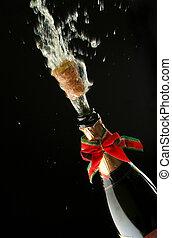 pezsgő palack, hajlandó, helyett, ünneplés