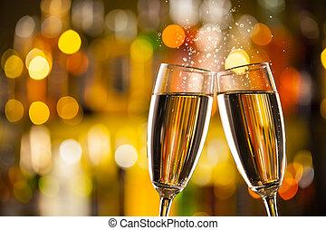 pezsgő pohár, háttér, elhomályosít