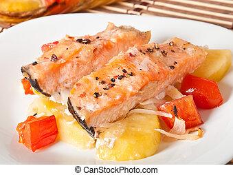 pezzi, di, salmone, cotto, in, il, forno
