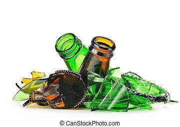 pezzi, di, vetro rotto, sopra, bianco, fondo., riciclaggio