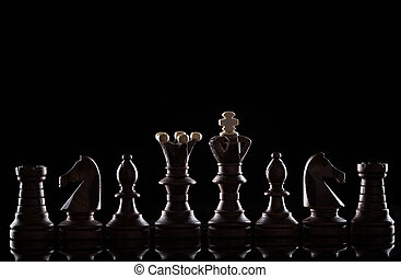 pezzi gioco scacchi, su, sfondo nero