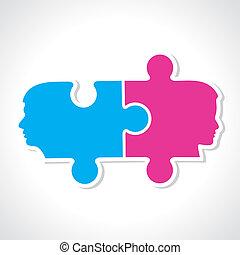 pezzi, maschio, puzzle, faccia femmina