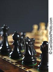 pezzi, nero, asse, scacchi