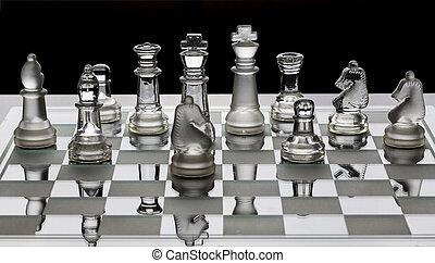 pezzi, vetro, nero, scacchi, ombra, assortimento, cartoncino bianco