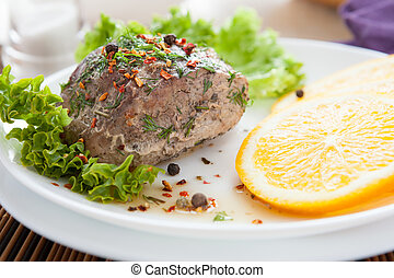 pezzo, di, carne di maiale, cotto, in, il, forno