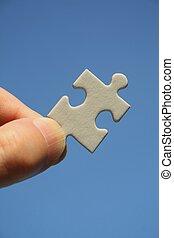 pezzo enigma, bianco, mano umana