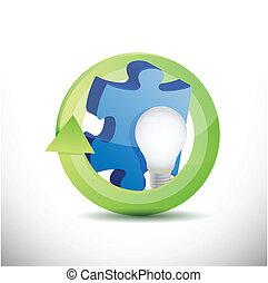 pezzo enigma, e, lightbulb, illustrazione, disegno