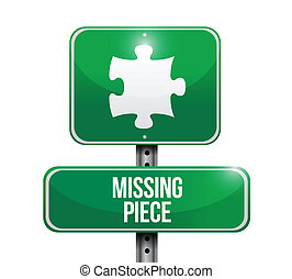 pezzo enigma, mancante, illustrazione, segno