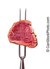 pezzo, forchetta, bistecca, carne