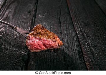 pezzo, fork., meat., cotto ferri, impalare, bistecca