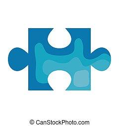 pezzo, icona, blu, isolato, puzzle, colorare