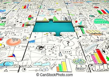 pezzo mancante, di, uno, puzzle, con, statistica, disegnato, sopra