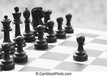 pezzo, nero, scacchi, pegno