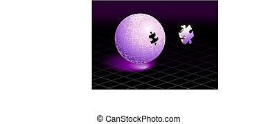 pezzo, puzzle, mancante, viola, globo