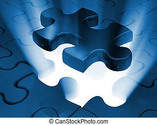 pezzo sega traforo, di, puzzle