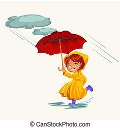 pfützen, gehen, frau, wolkenhimmel, jacke, wasserdicht, tropfender , abbildung, gummi, regentropfen, vektor, regnen, stiefeln, unter, regen, schirm, m�dchen, hände