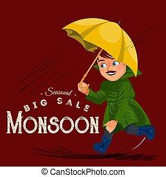 pfützen, gehen, regentropfen, schirm, jacke, junge, wasserdicht, tropfender , abbildung, gummi, vektor, regnen, stiefeln, unter, regen- wolken, hände, mann