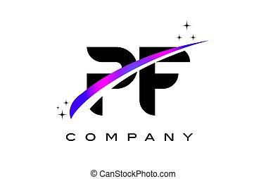 PF P F Black Letter Logo Design with Purple Magenta Swoosh...