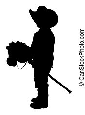 pfad, ausschnitt, silhouette, wenig, cowboy