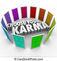 pfade, schicksal, schicksal, viele, wählen, karma, türen, dein, glück