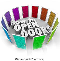 pfade, türen, gelegenheit, zugang, wie, wörter, eintrag, neu , rgeöffnete