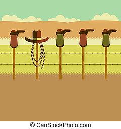 pfahl, stiefeln, zaun, cowboy
