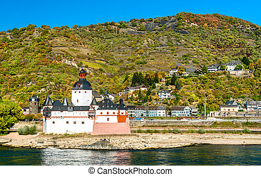 Pfalzgrafenstein Castle on an island in the Rhine river in Germany