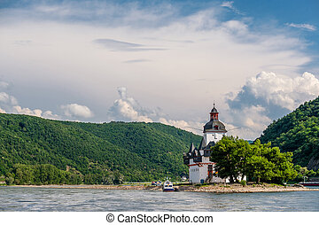 Pfalzgrafenstein Castle, toll castle at Rhine Valley near...