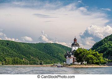 Pfalzgrafenstein Castle (Pfalz), toll castle on the Falkenau island at Rhine Valley (Rhine Gorge) near Kaub, Germany. Built in 1327.