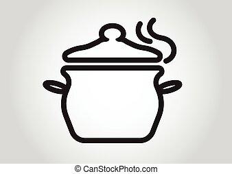 pfanne, symbol, ikone, design, kochen, element
