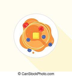 pfannkuchen, ikone, ihm, luftblick, mit, ahornsirup, butter,...
