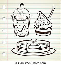 pfannkuchen, joghurt, und, weiches getränk