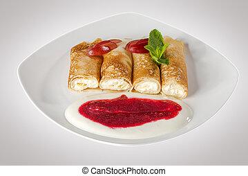 pfannkuchen, lieb, weiße platte