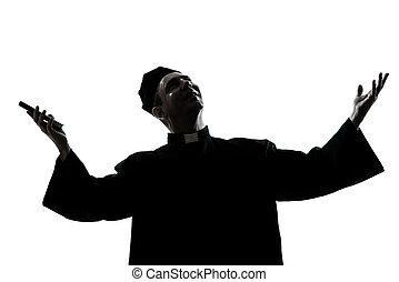 pfarrer, silhouette, mann