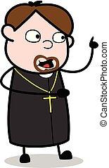 pfarrer, zeigen, -, abbildung, sprechende , während, vektor, religiöses, karikatur