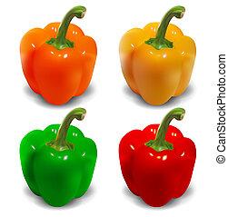 pfeffer, glocke, -, gelber , orange, vektor