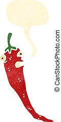 pfeffer, heiß, retro, chili, karikatur, rotes